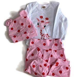 🌱2 for $15🌱 Pink giraffe and polka dot set